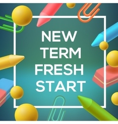 New term back to school background vector