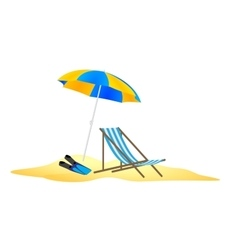 Parasol chaise and flippers in the sand vector
