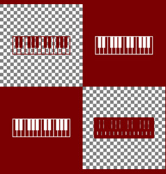 Piano keyboard sign bordo and white icons vector