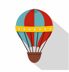 red and blue hot air striped balloon icon vector image vector image