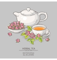 Rose tea on grey background vector