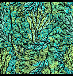 seamless floral green hand drawn doodle pattern vector image vector image