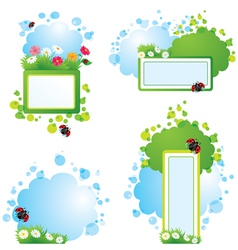 Set of summer backgrounds and frames with vector image vector image