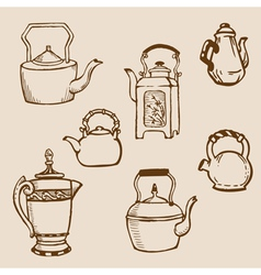 set of teapot doodles vector image vector image