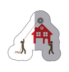 Sticker colorful workers with pulley holding small vector