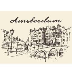 Streets amsterdam drawn sketch vector