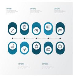 Trade outline icons set collection of circle vector