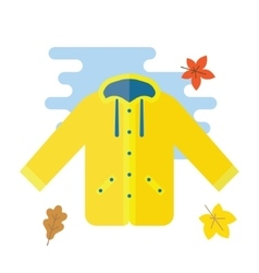 Yellow raincoat waterproof clothes vector