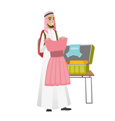 Young muslim traveler man packing suitcase vector