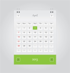 April 2013 Calendar vector image