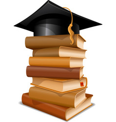 Books with graduation cap vector image