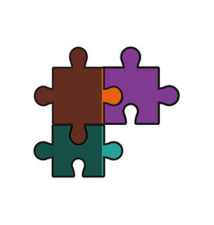 Puzzle pieces team work innovation shadow vector