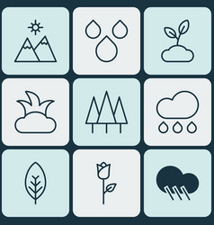 Set of 9 ecology icons includes tree leaf water vector