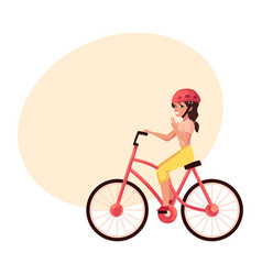 Young pretty woman girl riding bicycle cycling vector