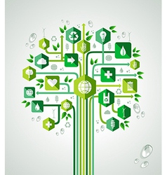 Green flat icons technology tree vector
