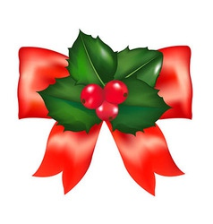 Red bow with holly berry vector