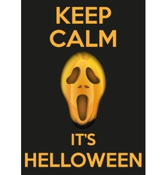 Background keep calm with pumpkins fear face for vector