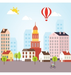 Seamless sunny town landscape background vector