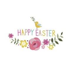 Happy easter floral design with bird vector