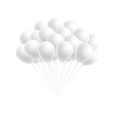 Bunch birthday or party white balloons vector