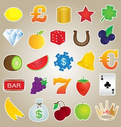 Slot machine icons set vector