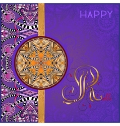 Violet greeting card for indian festive sisters vector