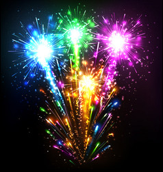 Festive firework salute burst on black vector