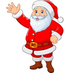 Cartoon funny santa waving hand isolated vector