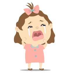 Baby girl crying vector