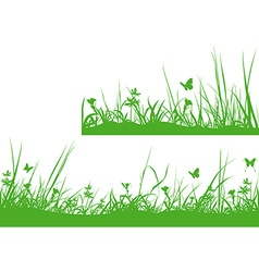 Green meadow silhouette vector