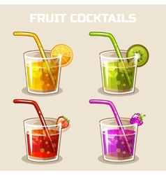 Glass of cold fruit cocktails with ice vector