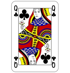 Poker playing card queen club vector