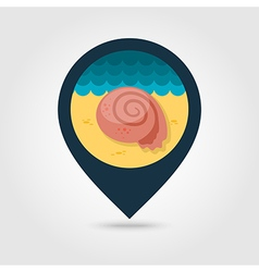Seashell pin map icon summer vacation vector