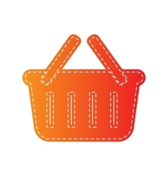 Shopping basket sign orange applique isolated vector