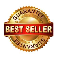 Best seller golden label with ribbon vector