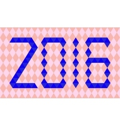 Blue numbers of year 2016 made from triangles vector image