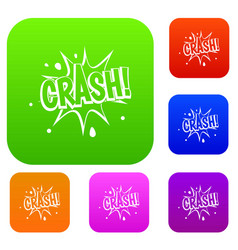 crash explosion set color collection vector image vector image