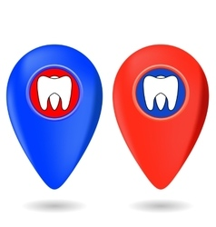 Dentist Red Blue Markers vector image vector image