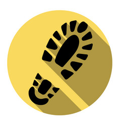 Footprint boot sign flat black icon with vector