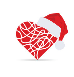 Heart with christmas hat vector