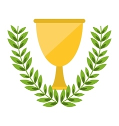 Isolated trophy cup inside wreath design vector