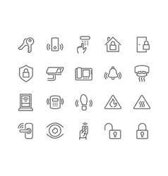 Line Home Security Icons vector image vector image