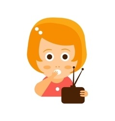 Little red head girl in red dress watching tv flat vector