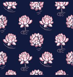 lotus pink on dark blue seamless pattern vector image