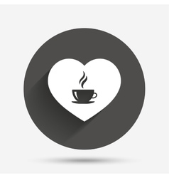 Love Coffee icon Hot coffee cup sign vector image