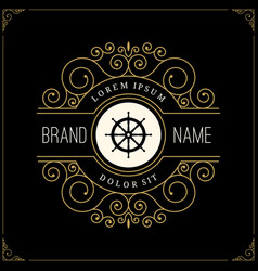 luxury logo in vintage style vector image vector image
