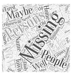 Missing persons word cloud concept vector