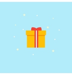 New years gift - icon yellow box with red vector