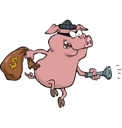 pig robber with money bag vector image vector image