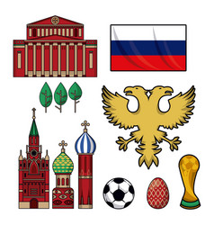 Russia 2018 world soccer elements vector